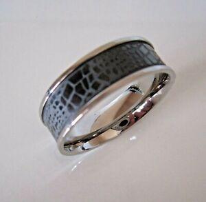 SUPERNOVA SCARVES Stainless Steel Black Polka Dot /& Crocodile Scarf Ring Mod