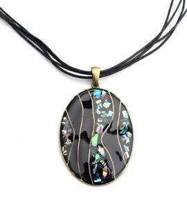 Kette-Halskette-Modekette-ovaler-Anhaenger-Paua-Abalone-Muschelsplitter-schwarz