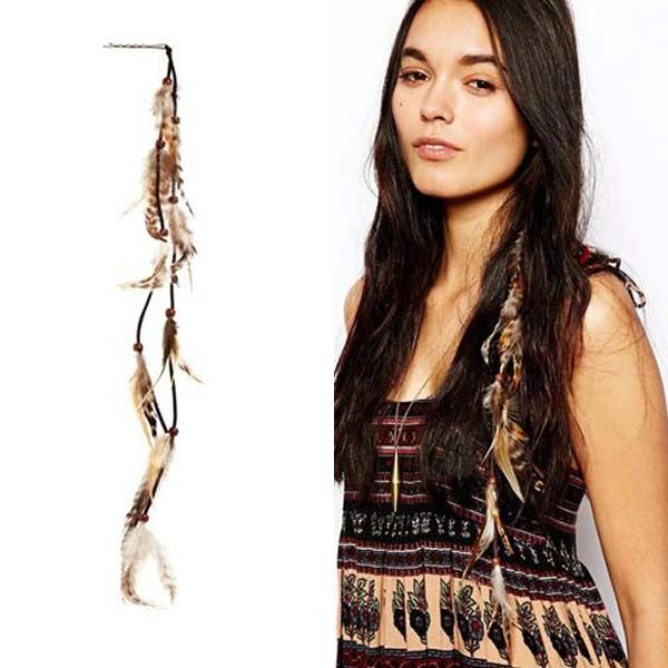 Boho Long Multi Feather Beads Silver Hair Pin Cuff Comb Headband Hair Accessorie