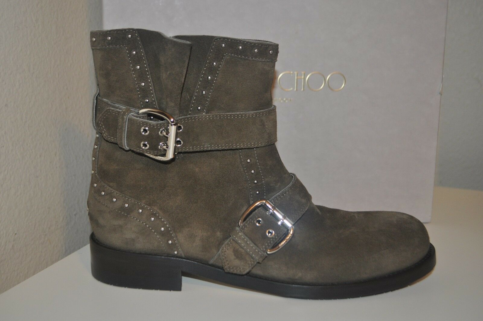 NIB $1,395+ Jimmy Choo Blyss Studded Suede Ankle Bootie Boot Suede Mink 39 - 9