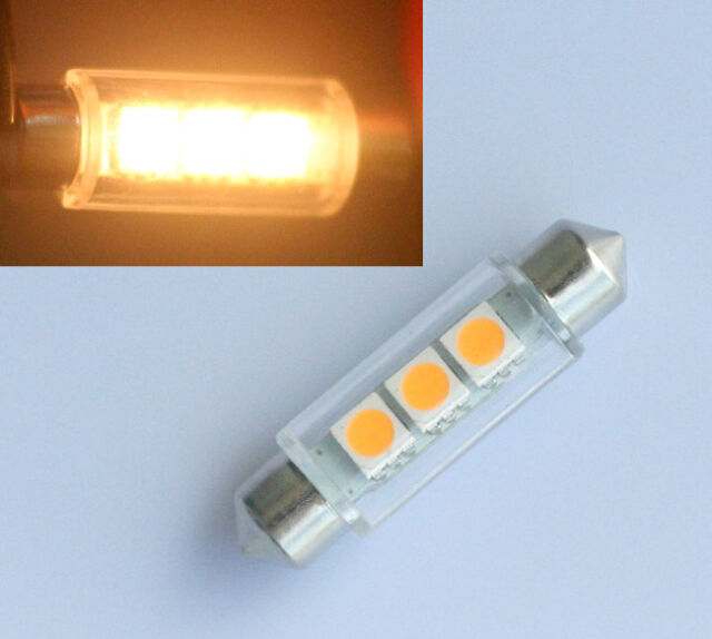 10x 42mm Soffitte Lampe C10W 3 SMD 5050 LED WARM WEISS Innenraum Beleuchtung 12V