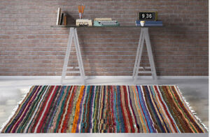 Details about ❤️ Multi Colour Cotton Yarn Fringed Rug LARGE & RUNNER Indian  Yoga Mat