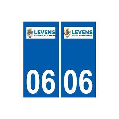 06 Levens Logo Ville Sticker Autocollant Plaque - Angles : Droits