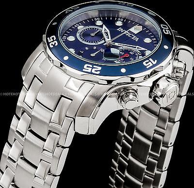 Invicta 48mm Pro Diver Scuba Chronograph Blue Dial & Bezel Stainless 200M Watch