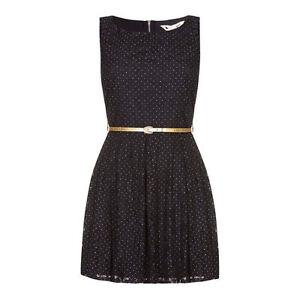 bb057c50e0fd Womens Yumi Blue Lace Gold Spots Black Skater Dress Gold + Belt Size ...