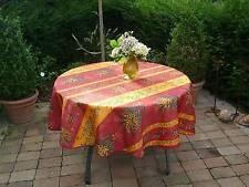 Tischdecke Provence 180 cm rund rot gelb Mimosen aus Frankreich, pflegeleicht