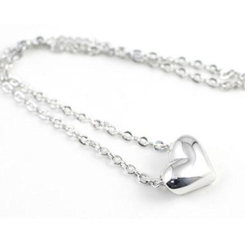 Silver Plated Mini Valentine Day Love Heart Princess Necklace Choker Chain 45cm