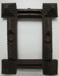 Antique TRAMP FOLK ART Frame Photo Mirror Artwork Layered Hand Carved Wooden