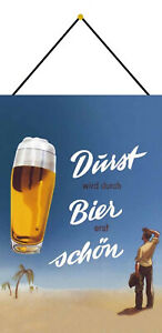 Durst-Through-Beer-Schon-Shield-with-Cord-Tin-Sign-7-7-8x11-13-16in-FA0171-K