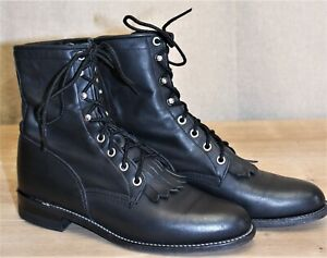 Boots Bottines à lacets femme JUSTIN cuir noir 7,5A US 5,5 UK 39 EUR made in USA