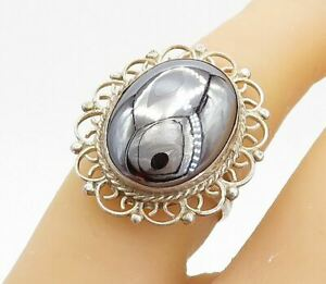 925 Sterling Silver - Vintage Hematite Swirl Twist Cocktail Ring Sz 7 - RG3571