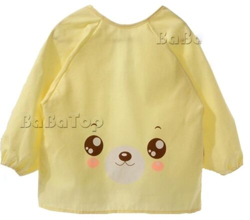 Children Baby Toddler Apron Boys Girls Bib Blue Yellow Cartoon Beautiful Face