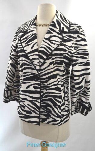 Chicos Nuovo Chico M B S Giacca w bottone 1 Zebra leggera Coat Suit Animal Blazer TwpTxAqrZ