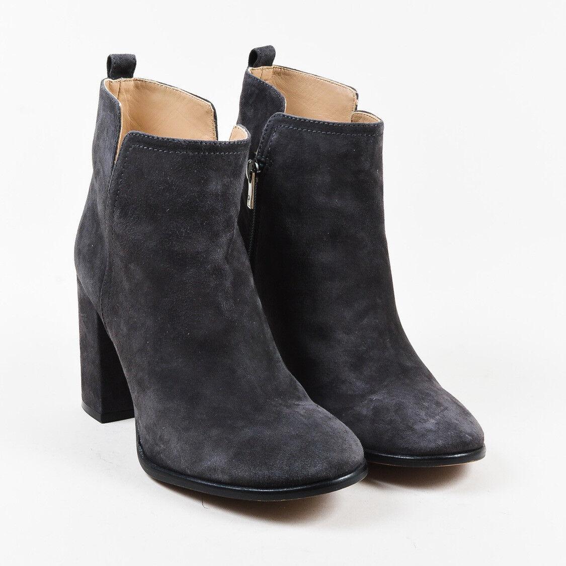 Pura Lopez  Gray Suede Round Toe High Heel Ankle Stiefel SZ 39