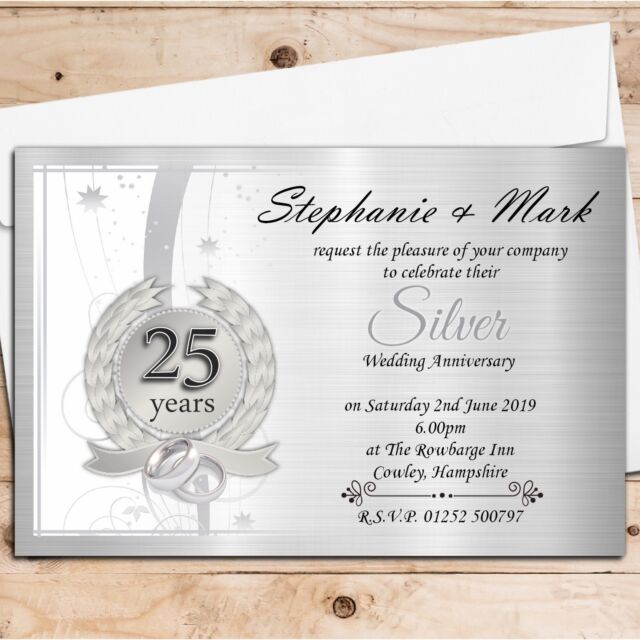10 Personalised 25th Silver Wedding Anniversary Invitations Invites N9