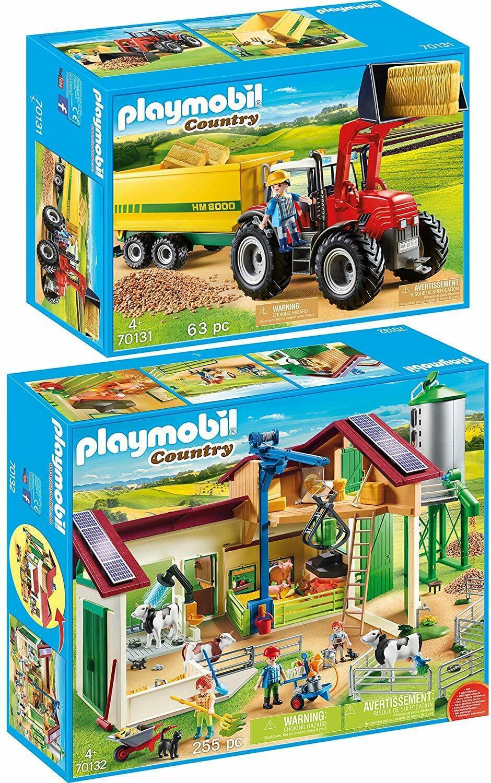 Playmobil 70131 Riesentraktor Anhänger + 70132 Großer Bauernhof Silo Set NEU