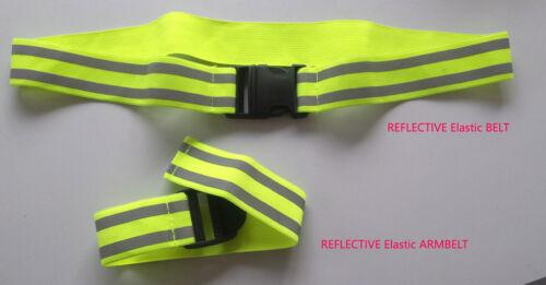 Reflective High Viz Hi Vis Visibility Elastic Belt Armband Set New