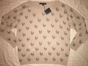 345-NEW-NWT-SKULL-CASHMERE-Jolie-Skull-Print-Cashmere-Sweater-Camel-Size-S