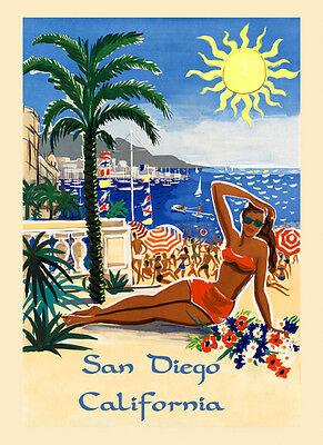 Girl Beach San Diego California Travel Tourism Vintage Poster Repro FREE S//H