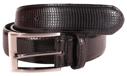 New Mens Genuine Leather Check Pattern Pin Buckle 35mm Width Belts