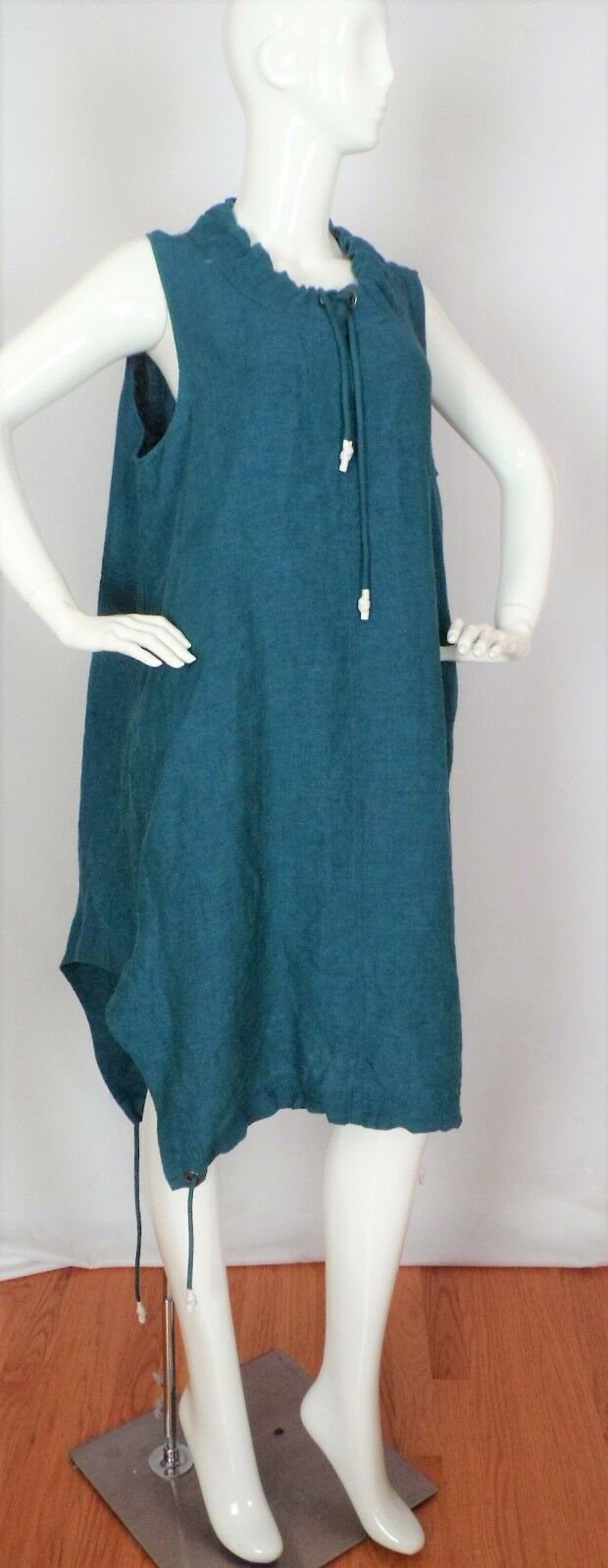 NEW crea Concepts Emerald Green Sporty Linen Dress Lagenlook Size 46 NWT