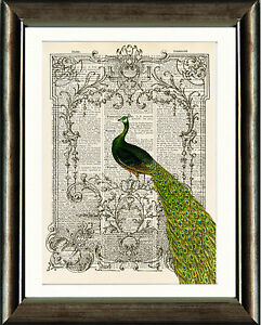 Old-Antique-Book-page-Art-Print-Vintage-Peacock-2-Dictionary-Page-Wall-Art
