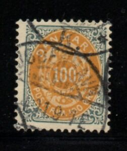 Denmark Sc 34 1877 100 ore gray & orange stamp used Free Shipping