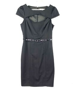 Review Women's Size 8 Black Belted Short Sleeve Knee Business Corporate Dress