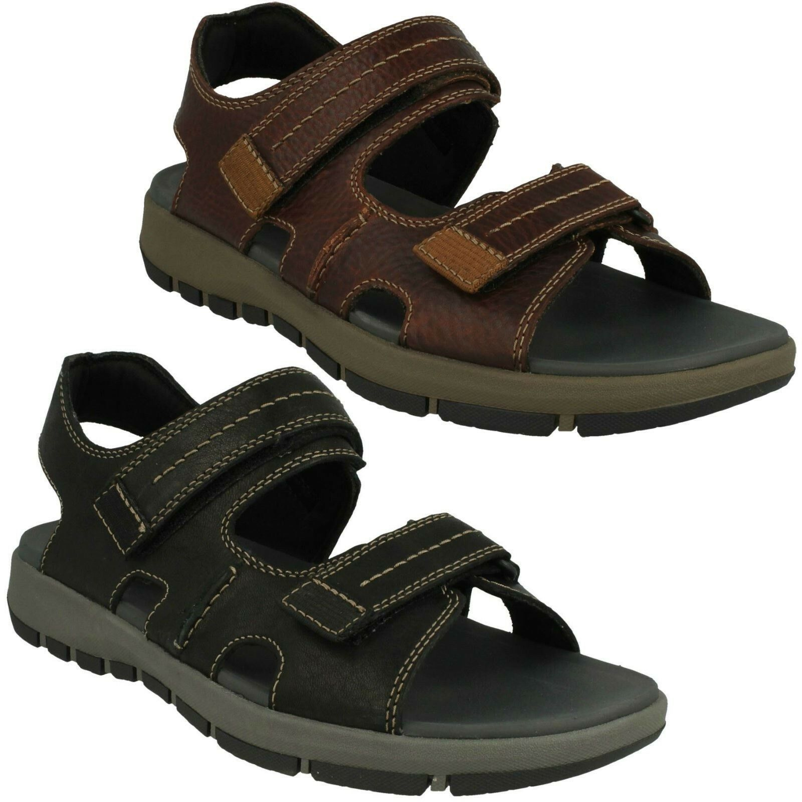 Herren Clarks Leder Offene Zeh Freizeit Sommer Sandalen Schuhe Größe Brixby