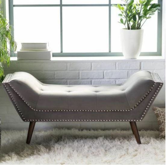 Incredible Entryway Bed Bench End Of Foot Upholstered Tufted Button Nailhead Bedroom Gray Pabps2019 Chair Design Images Pabps2019Com