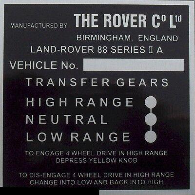 Land Rover Series  2 109 Bulkhead Gear//Transfer Box Info vin id plate quality