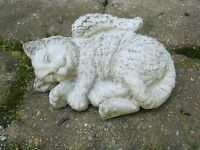 Cat Angel, Concrete Cat Memorial Statue, Cat Statues, Cement Cat With Wings,