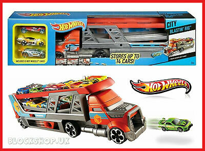 Hot Wheels Blastin Rig New Stores up to 14 Cars Includes 3 Hot Wheels Cars