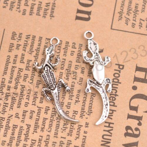 Wholesale 10Pcs Tibetan Silver Gecko Charms Pendentifs Bijoux 40x12MM M137