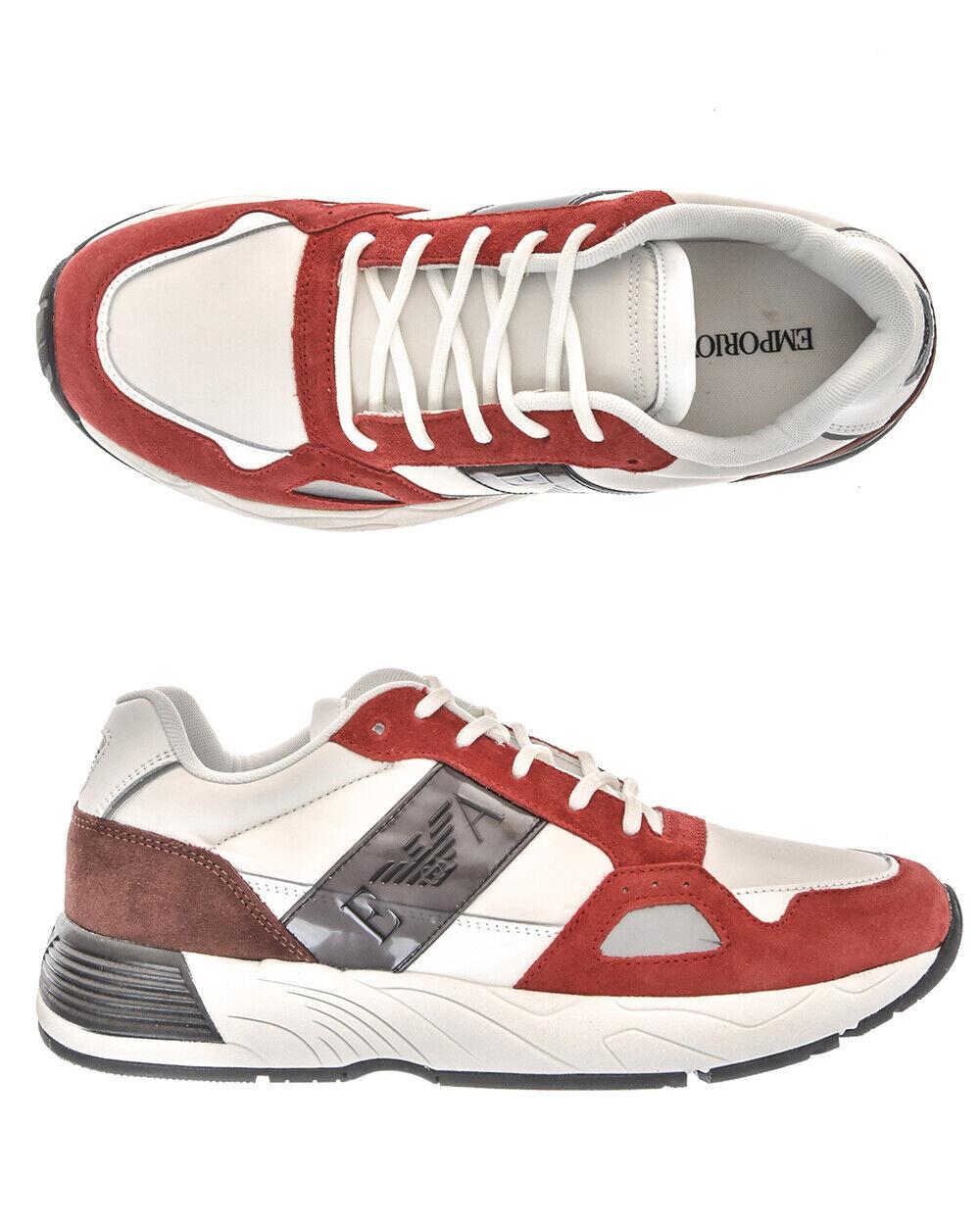 Emporio Armani scarpe scarpe da ginnastica Leather Man rosso X4X220XL187 A004 Sz.43 MAKE OFFER