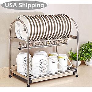 Image is loading 2-Tier-Stainless-Steel-Bowl-&-Dish-Shelfs-  sc 1 st  eBay & 2-Tier Stainless Steel Bowl u0026 Dish Shelfs Holder Drying Dryer Rack ...