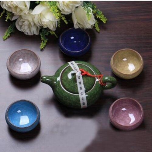 High Quality 7 Pcs Chinese Teapot Set Dehua Colorful Ceramic Ice Crack Tea Cups