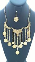 Gold Dangling Coin Waterfall Fashion Necklace Set