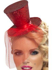 Mini-Chapeau-Paillette-avec-Voile-Femmes-Circus-Burlesque