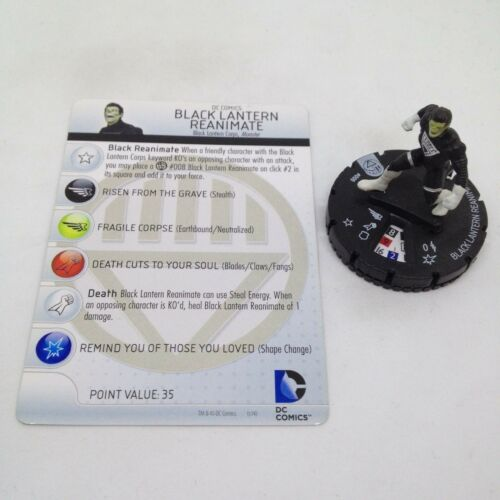 Heroclix War of Light set Black Lantern Reanimate #008 Common figure w//card!
