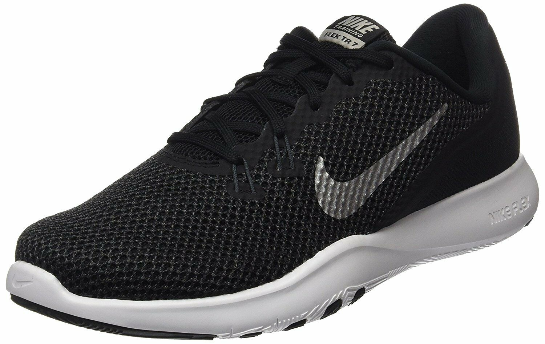 Nike Womens Flex 7 Cross Trainer, Black/Metallic Silver/Anthracite/White, 898479