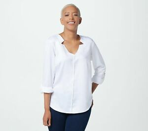 Elizabeth & Clarke Womens V-Neck StainTech RollTab Sleeve Top (White, 6) A353173