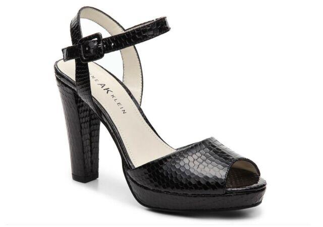Anne Klein Indulge Shoes Sz 7 Black Patent Leather Sling Back Heels Sandals