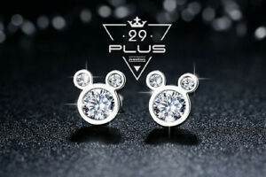 Cute Mickey Mouse 18K White Gold Filled Fashion Crystal Stud Earrings Gift