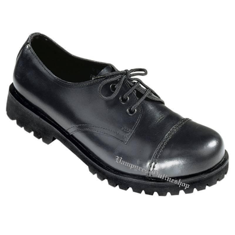 Bondage London Stiefel 3-Loch Schwarz Rangers Leder Boots Stahlkappen Black Noir