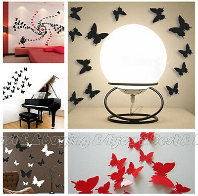 12x 3D Butterfly Wall Stickers Home Decor DIY Docors Art (3 Colors) IC9
