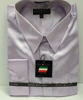 Men's Shiny Satin Formal Dress Shirt Lilac With Convertible Cuffs 100% Polyester