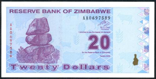 20  DOLLARS   2009 P  95  Uncirculated Banknotes ZIMBABWE