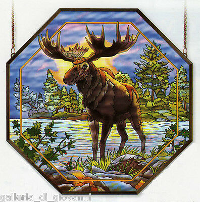 "Northwoods Moose Stained Glass Art Panel  22""   Lodge Rustic Nature"