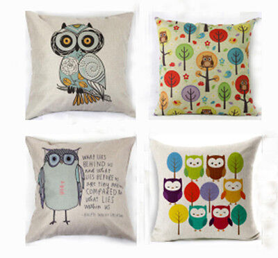 Cotton Linen Square Owls with Tree Throw Pillow Case Cushion Cover Home  Decor